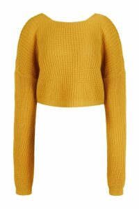 Womens V-Back Crop Jumper - yellow - L, Yellow