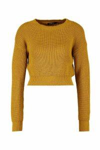 Womens Crop Fisherman Jumper - yellow - XL, Yellow