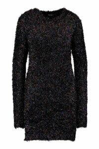 Womens Crew Neck Dress In Rainbow Tinsel - black - XS, Black