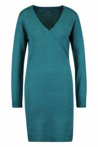 Womens V Neck Knitted Dress - green - XS, Green