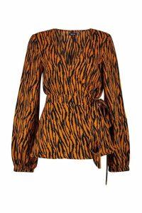 Womens Tonal Zebra Print Wrap Blouse - orange - 6, Orange