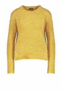 Womens Teddy Feather Knit Jumper - yellow - M/L, Yellow