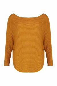 Womens Batwing Rib Knit Jumper - yellow - S/M, Yellow