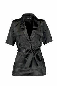 Womens Button Down Satin Tie Waist Utility Shirt - black - 6, Black