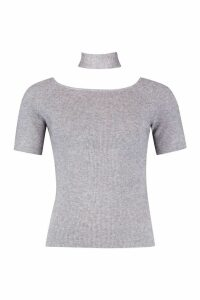 Womens Choker Detail Knitted Top - grey - S/M, Grey