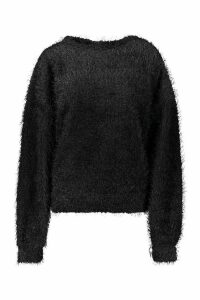 Womens Oversized Fluffy Knit Jumper - black - M, Black