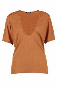 Womens Basic Rib Deep Plunge T-Shirt - beige - 14, Beige
