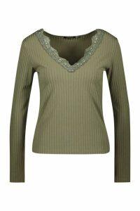 Womens Long Sleeve Lace Trim Rib T-Shirt - green - 10, Green
