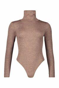 Womens Marl Knit Roll Neck Bodysuit - beige - 12, Beige
