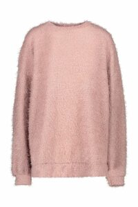 Womens Oversized Fluffy Knit Boyfriend Jumper - pink - S/M, Pink