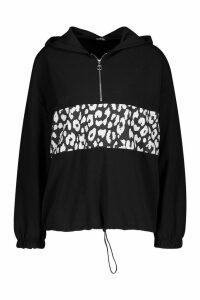 Womens Leopard Print Colour Block Hoody - black - 8, Black