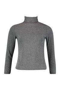 Womens roll/polo neck Long Sleeve Top - grey - 6, Grey