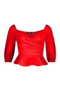 Womens Ruffle Off The Shoulder Scuba Peplum - red - 6, Red