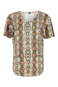 Womens Oversized Snake Short Sleeve T-Shirt - beige - S/M, Beige