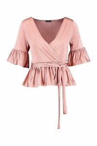 Womens Wrap Front Frill Hem Top - pink - 6, Pink