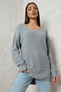 Womens Oversized V Neck Jumper - grey - XS, Grey