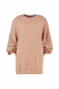 Womens Oversized Fluffy Knit Boyfriend Jumper - beige - M/L, Beige