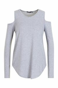 Womens Long Sleeve Cold Shoulder Top - grey - 10, Grey