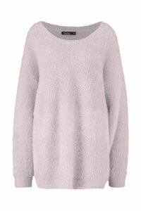 Womens Premium Oversized Feather Knit - beige - S/M, Beige