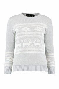 Womens Reindeer Fairisle Christmas Jumper - grey - M/L, Grey