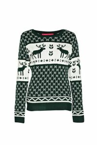 Womens Snowflake and Reindeer Knitted Jumper - green - S/M, Green