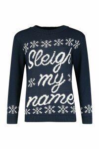 Womens Sleigh My Name Christmas Jumper - navy - S/M, Navy