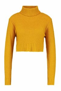 Womens roll/polo neck Crop Jumper - yellow - M, Yellow