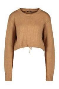 Womens Ruched Hem Soft Knit Jumper - beige - M, Beige