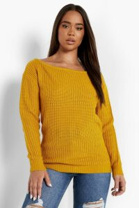 Womens Slash Neck Fisherman Jumper - yellow - XL, Yellow