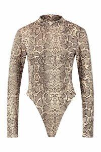 Womens Snake Print Roll Neck Bodysuit - beige - 16, Beige