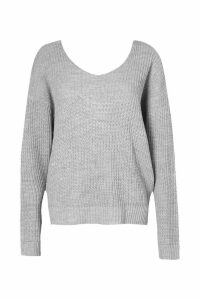 Womens Crop Twist Jumper - grey - S/M, Grey