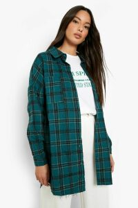 Womens Oversized Pocket Detail Check Shirt - green - 16, Green