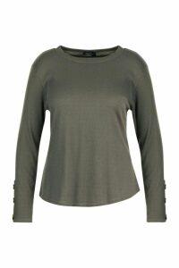Womens Plus Button Cuff Rib Knitted Jumper - green - 20, Green