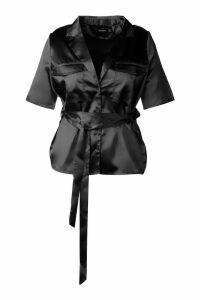 Womens Plus Satin Pocket Front Belted Shirt - black - 18, Black