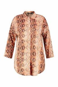 Womens Plus Snakeskin Oversized Shirt - brown - 22, Brown
