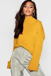 Womens Petite Rib Knit High Neck Jumper - yellow - M/L, Yellow