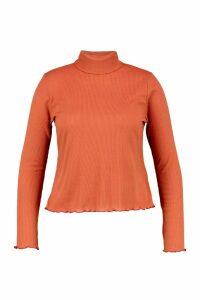 Womens Plus Lettuce Hem Rib High Neck Top - orange - 20, Orange