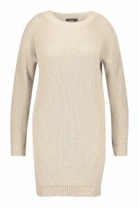 Womens Plus Crew Neck Jumper Dress - beige - 20, Beige