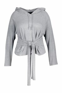 Womens Plus Tie Front Hoody - grey - 24, Grey