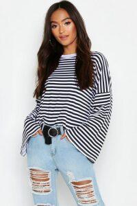 Womens Petite Stripe Wide Sleeve Top - multi - 14, Multi