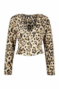 Womens Petite Button Front Animal Print Top - beige - 6, Beige