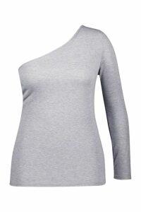 Womens Plus Jersey One Shoulder Basic Top - grey - 18, Grey