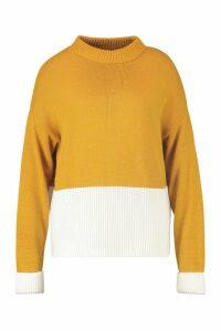 Womens Plus Colour Block Oversized Jumper - yellow - 16-18, Yellow