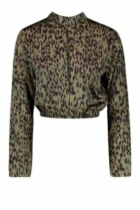 Womens Petite Cut Out Neck Animal Print Blouse - green - 4, Green