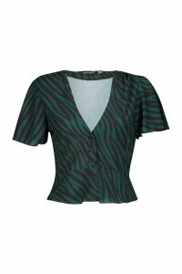 Womens Petite Woven Button Up Animal Print Blouse - green - 4, Green