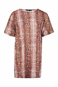 Womens Petite Snake Print Oversized T-Shirt Dress - pink - 14, Pink
