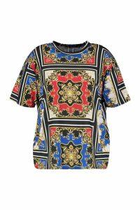Womens Plus Chain Print Oversized T-Shirt - black - 20, Black