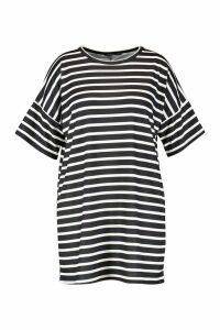 Womens Plus Stripe Oversized T-Shirt Dress - white - 20, White