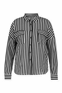 Womens Plus Stripe Pocket Shirt - black - 20, Black