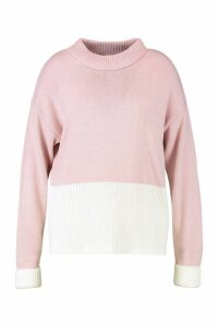 Womens Plus Colour Block Oversized Jumper - Pink - 20-22, Pink